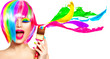 canvas print picture - Dyed hair humor concept. Beauty model woman painting her hair in colourful bright colors