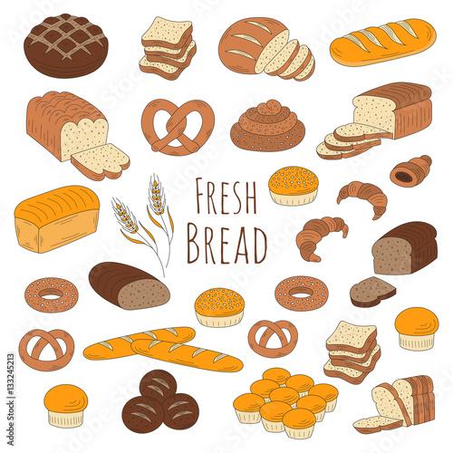 Valokuva  Bakery fresh bread collection doodle style vector illustration.