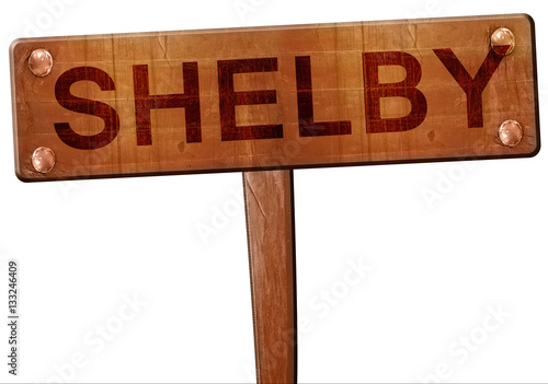 Photo  shelby road sign, 3D rendering