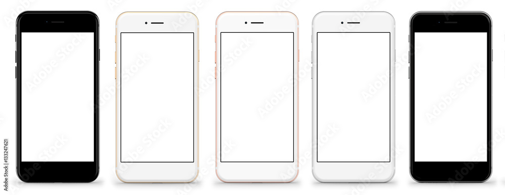 Fototapety, obrazy: Set of five smartphones gold, rose, silver and black - blank screen and isolated on white background, high resolution, deitailed