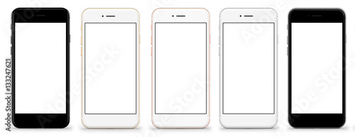 Obraz Set of five smartphones gold, rose, silver and black - blank screen and isolated on white background, high resolution, deitailed. Template, mockup. - fototapety do salonu