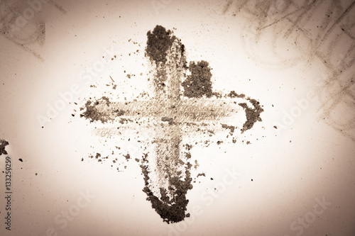 Fotografía Cross made of ashes, purple Lent season background