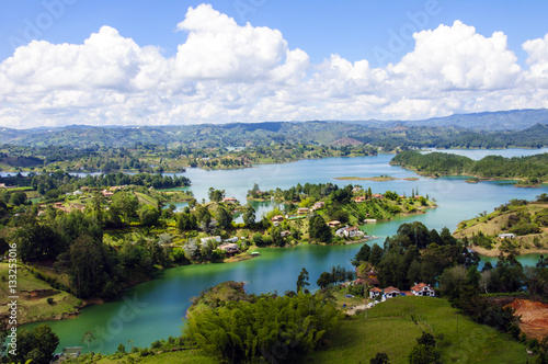 Printed kitchen splashbacks River Panoramic view from Rock of Guatape in Medellin, Colombia