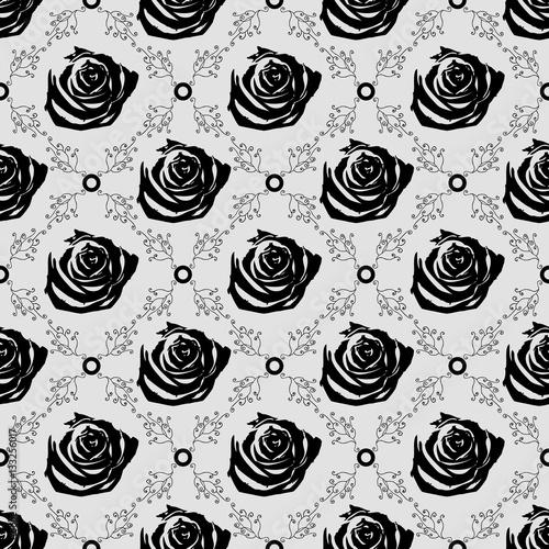 Seamless Black Roses Vector Pattern Gothic Black Rose Wallpaper