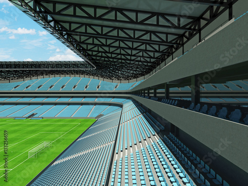 Foto op Canvas Stadion 3D render of a large capacity soccer - football Stadium with an open roof and sky blue seats