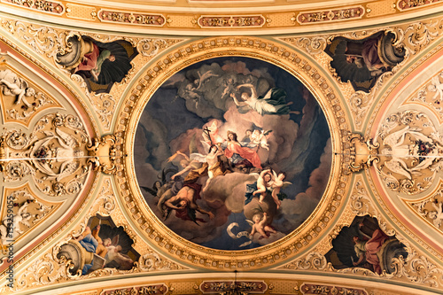 Painting decorated ceiling of an ancient Christian Cathedral.