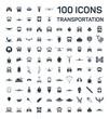 transportation isolated front 100 icons set on white background