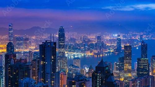 Photo sur Toile Hong-Kong Panorama view before sunrise on Hong Kong Peak, Hong Kong