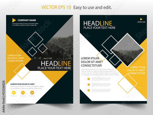 yellow black square vector annual report leaflet brochure flyer template design book cover layout design