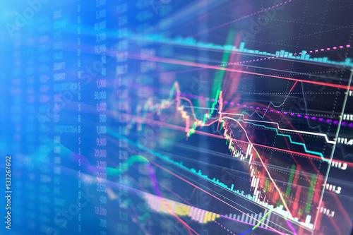 Photo  Stock market graph and bar chart.