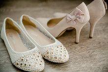 Wedding Shoes For Bride Beautiful Standing In The Background