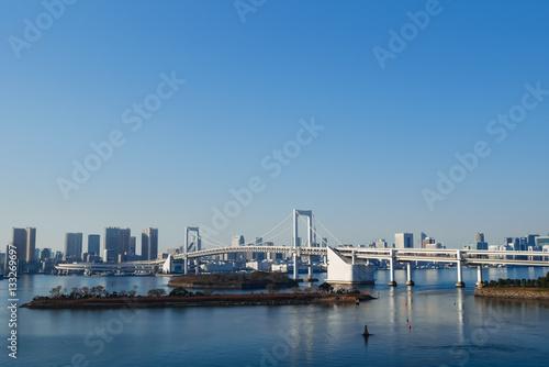 Foto auf AluDibond Stadt am Wasser 東京 レインボーブリッジ