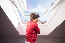 Kid On Roof Window In The Room