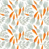 Bezszwowy wzór z marchewkami. Kolorowa ilustracja. Akwarela ręcznie malowane tekstury na białym tle tapety, blogi, okładka - 133276415
