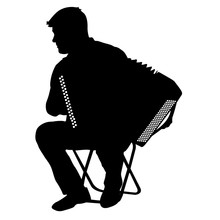 Silhouette Musician, Accordion Player On White Background, Vector Illustration