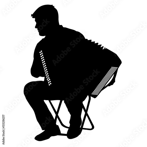 Silhouette musician, accordion player on white background, vector illustration Fototapeta