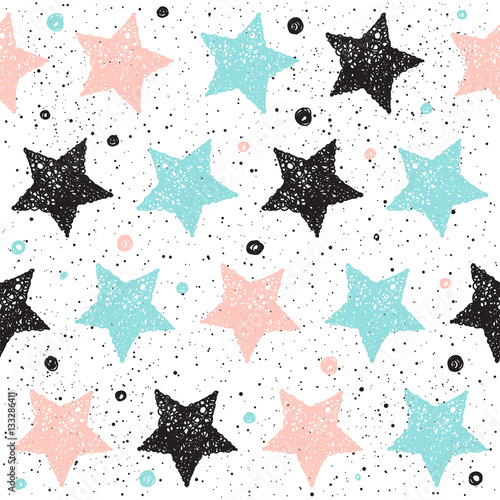 Cotton fabric Doodle star seamless background. Black, blue and pink star.