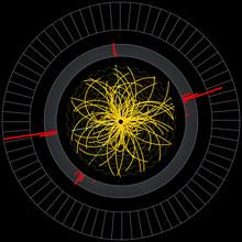 Higgs Boson In Large Hadron Collider. Vector Illustration.
