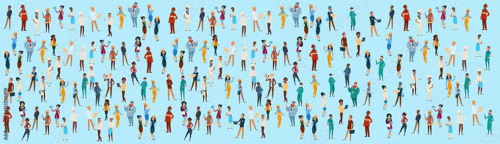 Fototapeta People Group Different Occupation Set, Employees Mix Race Workers Banner Flat Vector Illustration