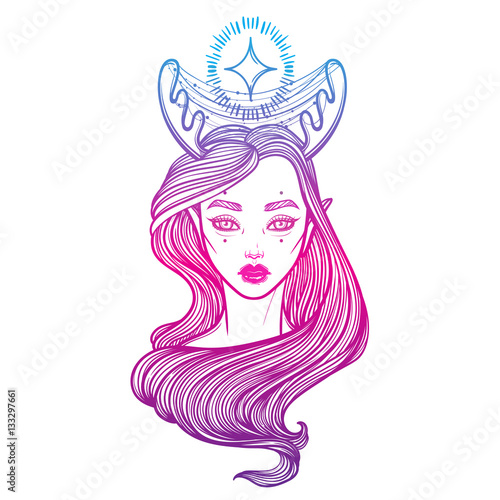 Illustration with beautiful girl Dryad. Mythical female deer. Tattoo ...