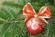 Closeup of Green Christmas tree and red ball decorations