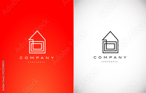 Fotografía  Real estate house monoline lineart logo icon design