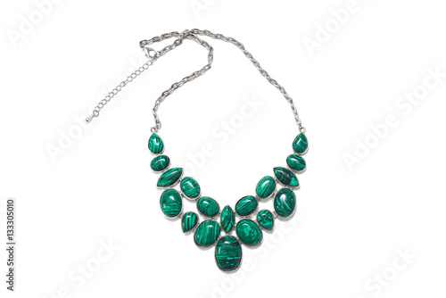 Foto jewelry jewels bijouterie necklace with green malachite stones and silver chain
