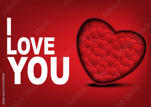 Photo  i Love you card with many hearts background