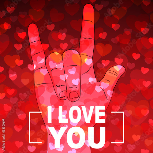 i Love you hand sign with many hearts on red background Poster