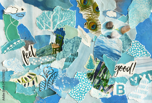 Creative Atmosphere art mood board collage sheet in color idea  blue ,green, aqu Fotobehang