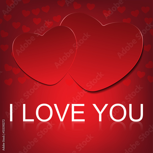 Photo  vector i love you on abstract hearts background