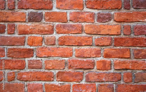 Deurstickers Baksteen muur Red brick wall texture grunge background