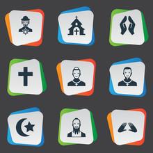 Set Of 9 Simple Faith Icons. C...