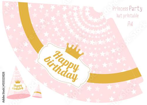 Party Hats V Printable Pink And Gold Princess Print Cut Hy