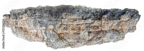 Rocky land piece floating in the space isolated on white backgro