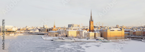 Fotobehang Stockholm Panorama of Riddarholmen and Kunsholmen in central Stockholm