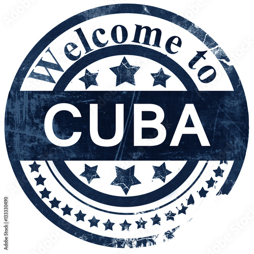 Cuba stamp on white background Wallpaper Mural