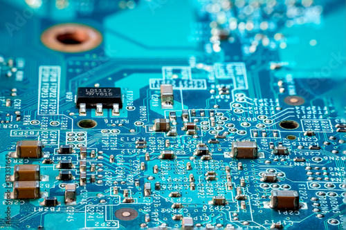 Fotografía  Photo of  electric component in electronic device, contain small resistor, small
