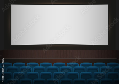 Interior Of A Cinema Movie Theatre Blue Cinema Or Theater Seats In Front Of White Blank Screen Empty Cinema Auditorium Vector Background Buy This Stock Vector And Explore Similar Vectors At