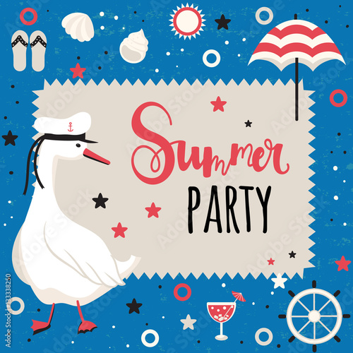 Fototapety, obrazy: Vector card with summer vacation theme.