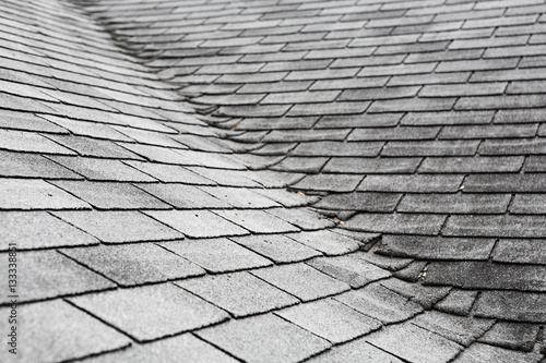 Fotografering  Old composite  roof with damage