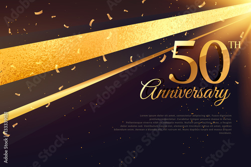 Fotografie, Obraz  50th anniversary celebration card template