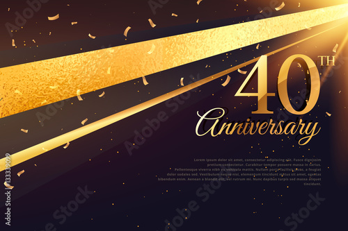 Fotografie, Obraz  40th anniversary celebration card template