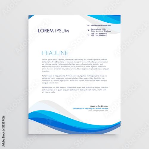Fototapeta business blue wave style letterhead template obraz
