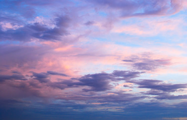 FototapetaEarly morning spring summer pink and blue cloudy sky