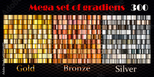 Fotografie, Obraz  Gold, bronze and silver gradients. Huge vector collection