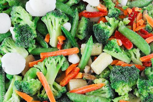Obraz frozen mixed vegetable background - fototapety do salonu