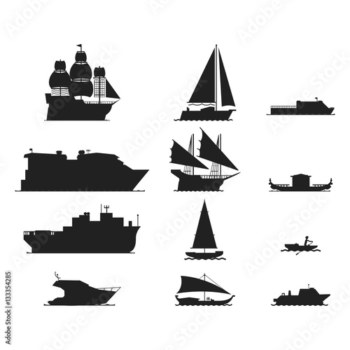 In de dag Schip Ship and boats silhouette vector.
