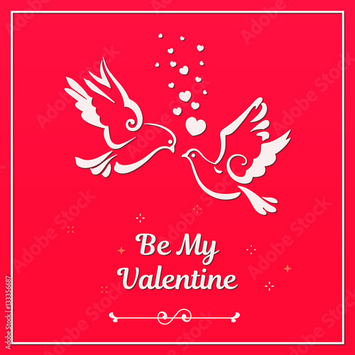 Love Symbols Couple Of Pigeons Valentines Card Text Be My
