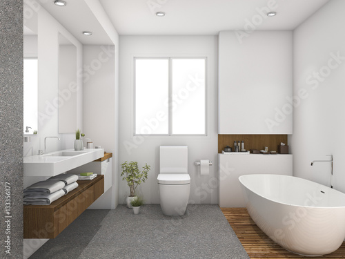 Fotografía  3d rendering wood and tile design bathroom near window